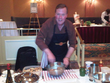 Harald Thiel of Hidden Bench preparing salmon tartare