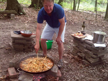 Philip Dowell preparing paella at Angels Gate