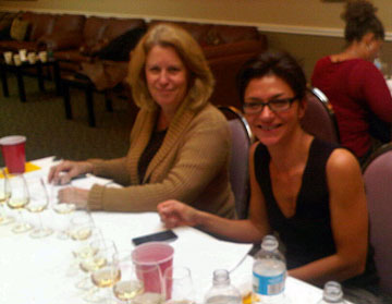 Margaret Swaine (left) and Carolyn Hammond judging