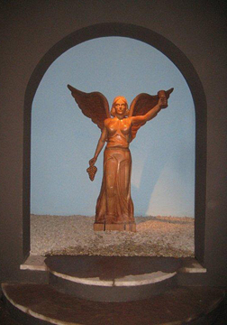 Montes's emblematic angel in Kaiken's cellar