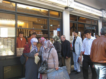 Line-up for freshly ground Turkish coffee