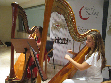 Harpists play during Turkish wine tasting