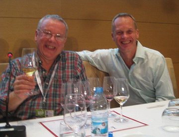 Charles Metcalfe, left, and Tim Atkin MW chairing Grand Terroir tasting