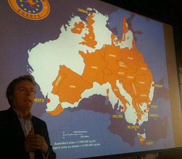 Mark Davidson shows how big Australia is