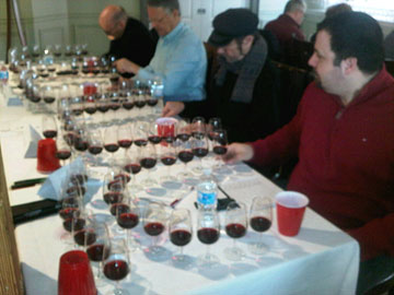 Judging the first half of a flight of 46 Meritage at the Ontario Wine Awards
