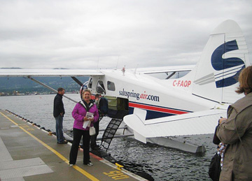 Deborah boarding the sea plane to Salt Spring