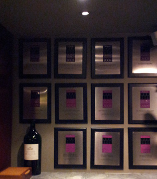 Opus's framed Wine Spectator Grand Awards