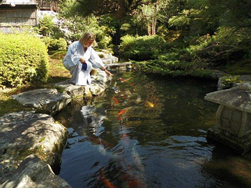 Deborah with koi