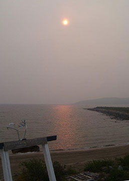 Sunrise through smoke at Peterson's Point Lake Lodge