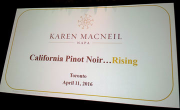 Karen MacNeil, Napa: California Pinot Noir...Rising. Toronto, April 11, 2016