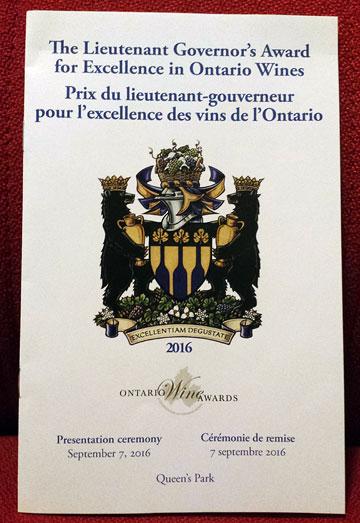The Lieutenant Governor's Award for Excellence in Ontario Wines | Prix du lieutenant-gouverneur pour l'excellence des vins de l'Ontario ¶ Presentation ceremony, September 7, 2016 | Cérémonie de remise, 7 septembre 2016 ¶ Queen's Park