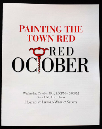 PAINTING THE TOWN RED | RED OCTOBER | Wednesday, October 19th, 2:00PM – 5:00PM | Great Hall, Hart House | HOSTED BY LIFFORD WINE & SPIRITS