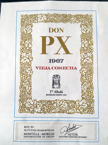 label from Bodegas Toro Albalá Don PX Selección 1967