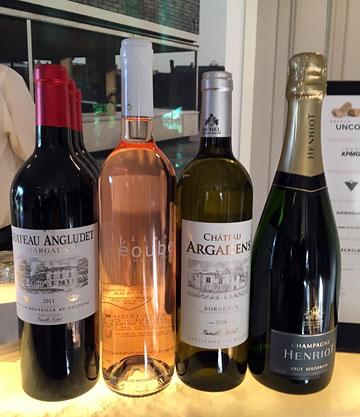 Château Angludet Margaux 2011; Château Léoube Blanc de Léoube; Châtea Argadens Sauvignon-Semillon 2016; Champagne Hentriot Brut Souverain