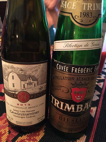 Hidden Bench Select Late Harvest Gewurztraminer and Trimbach Riesling SGN