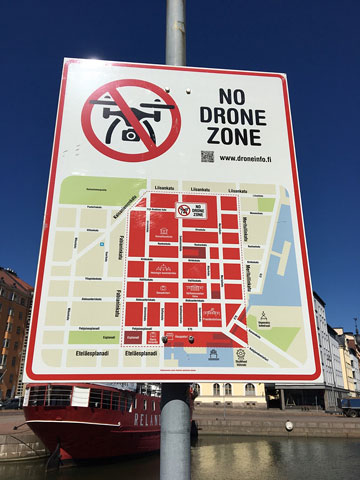 map sign: NO DRONE ZONE