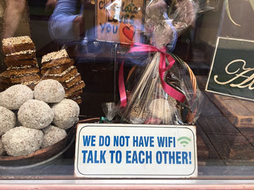 sign in window: WE DO NOT HAVE WIFI. TALK TO EACH OTHER!