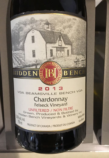 Hidden Bench Felseck Vineyard Chardonnay 2013