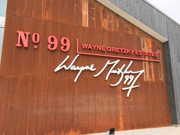 Wooden wall of building: No. 99 Wayne Gretzky Estates